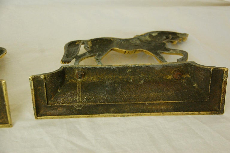 English Victorian Period Pair of Brass Horse Doorstops For Sale 2