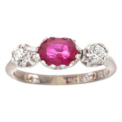 English Victorian GIA Ruby Diamond Gold Ring
