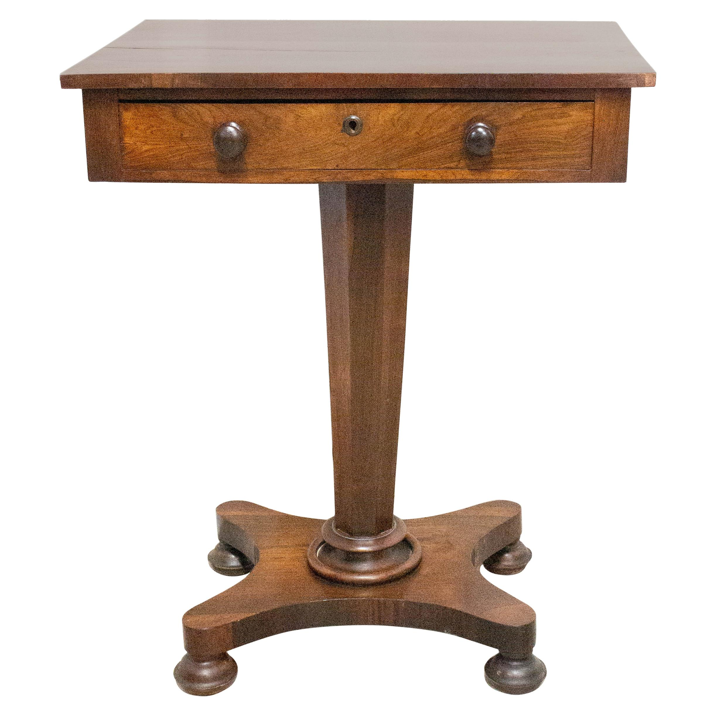 English Victorian Sellette Side Table, Mid-19th Century