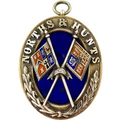 English Victorian Silver and Enamel Norths and Hunts Pendant