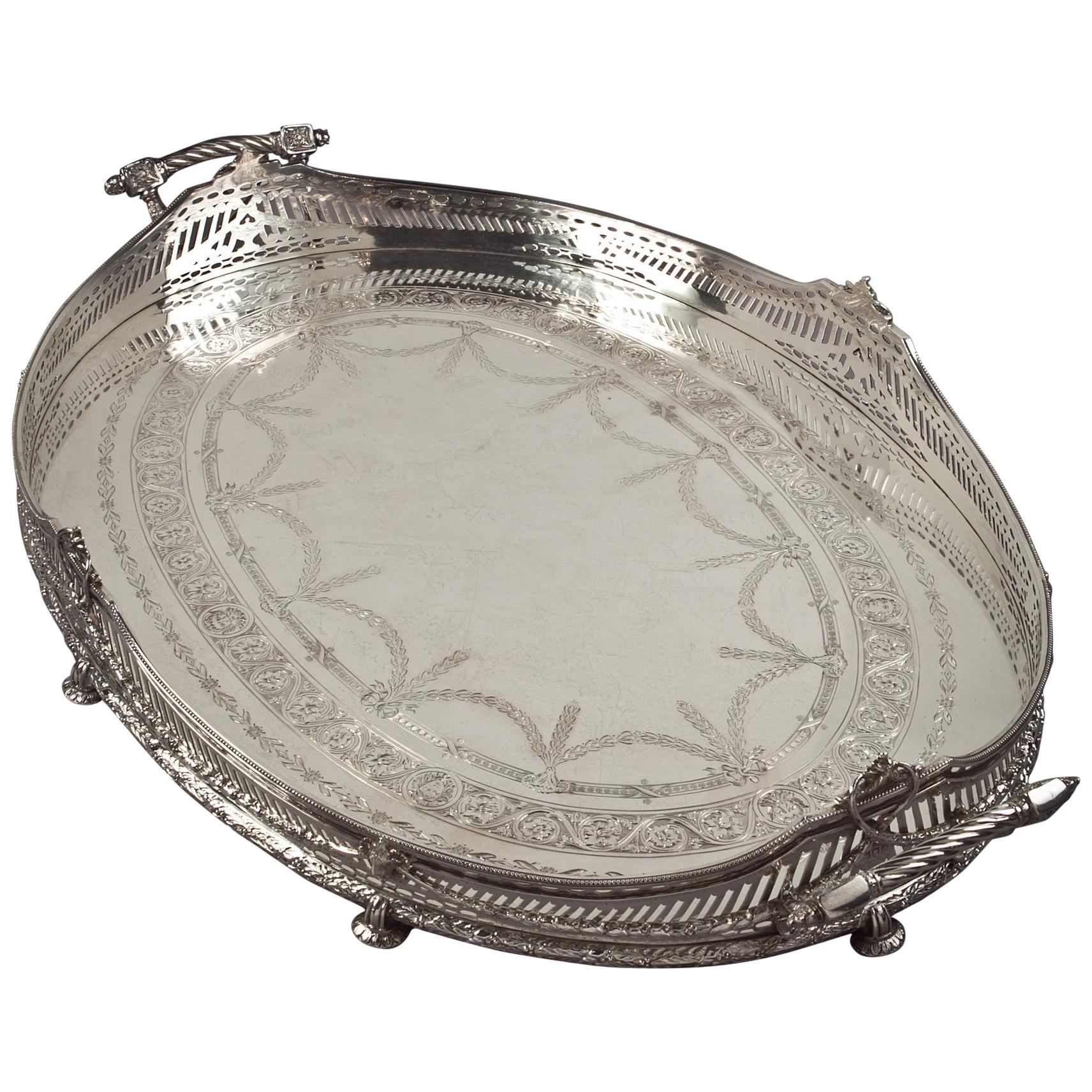 English Victorian Silver Gallery Tray