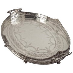 English Victorian Silver Gallery Tray