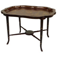 English Victorian Maroon and Floral Painted Tray Top Table