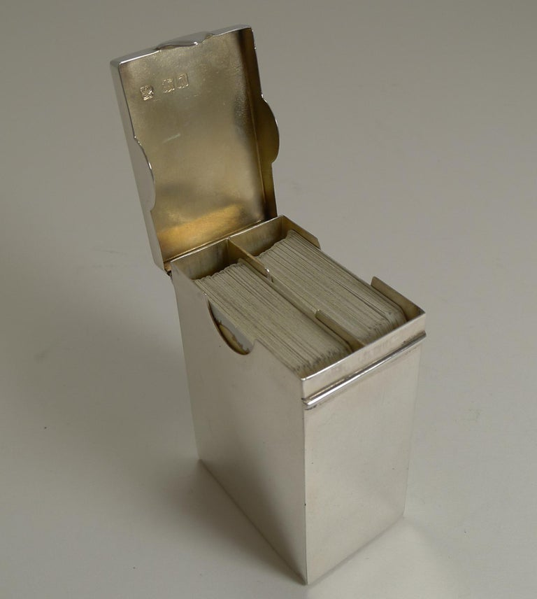 English Victorian Sterling Silver Playing Card Box, 1899 In Good Condition In London, GB