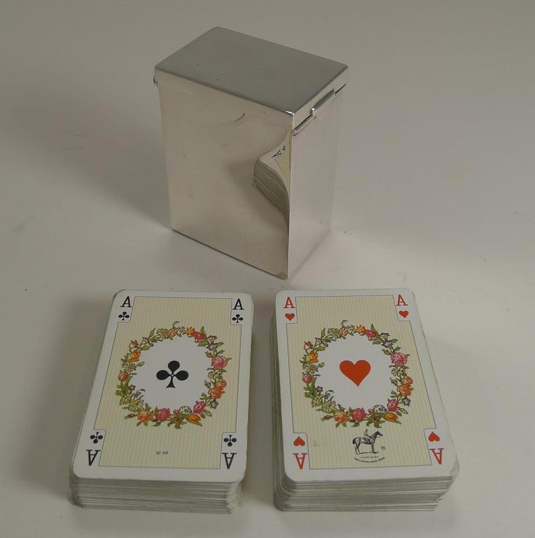English Victorian Sterling Silver Playing Card Box, 1899 1
