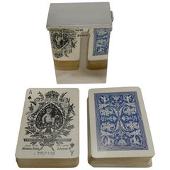 English Victorian Sterling Silver Playing Card Box, Original Cards, 1899