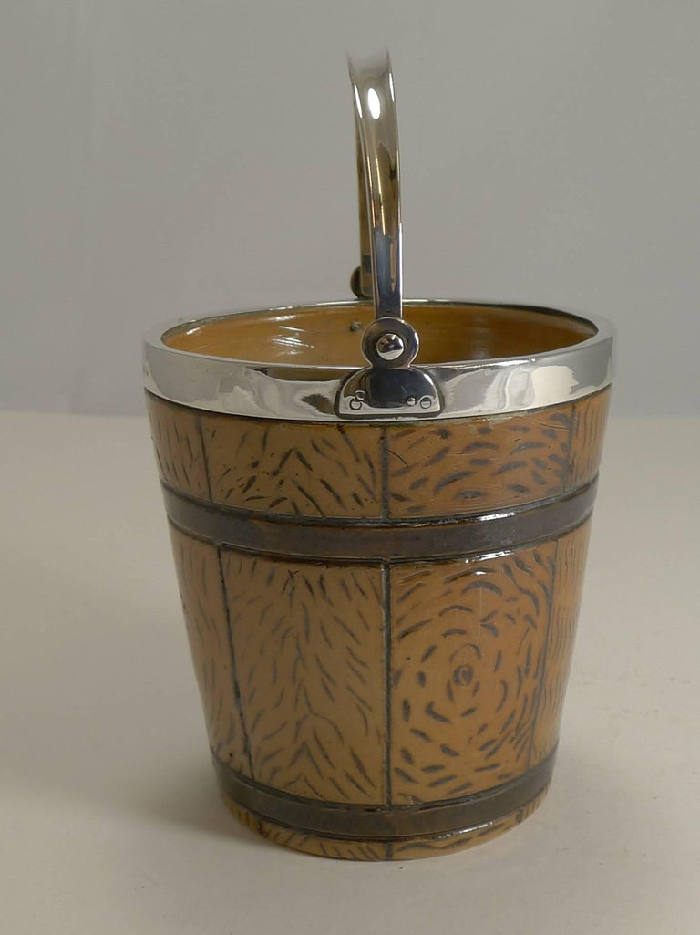 Late Victorian English Victorian Stoneware and Sterling Silver Ice Bucket / Pail, 1873 For Sale