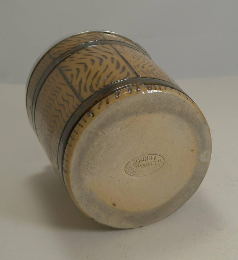 Late 19th Century English Victorian Stoneware and Sterling Silver Ice Bucket / Pail, 1873 For Sale