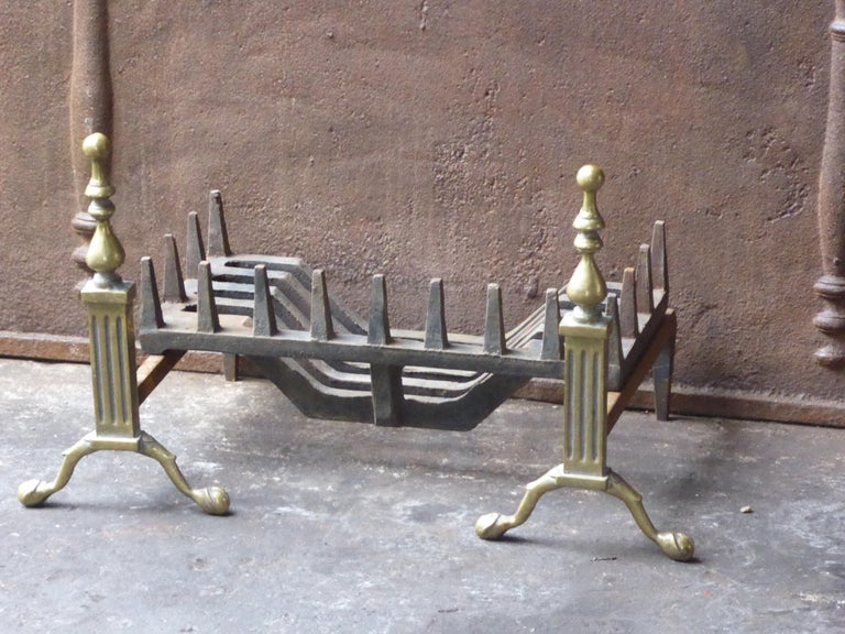 Forged English Victorian Style Fireplace Grate, Fire Grate For Sale