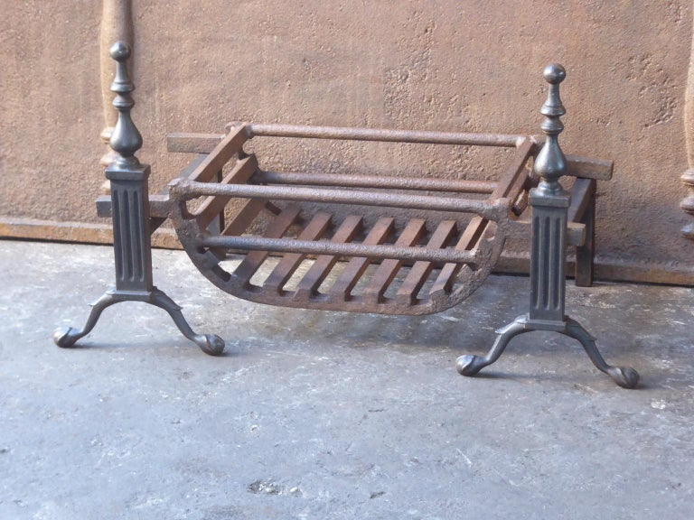 Cast English Victorian Style Fireplace Grate, Fire Grate For Sale
