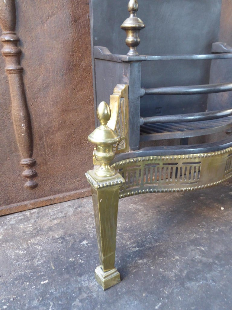 Brass English Victorian Style Fireplace Grate, Fire Grate For Sale