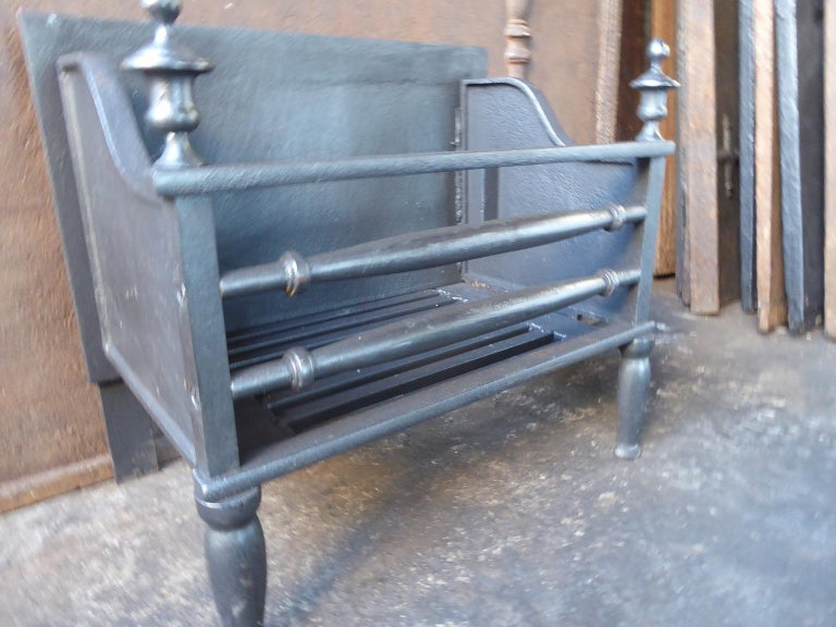 Iron English Victorian Style Fireplace Grate, Fire Grate For Sale