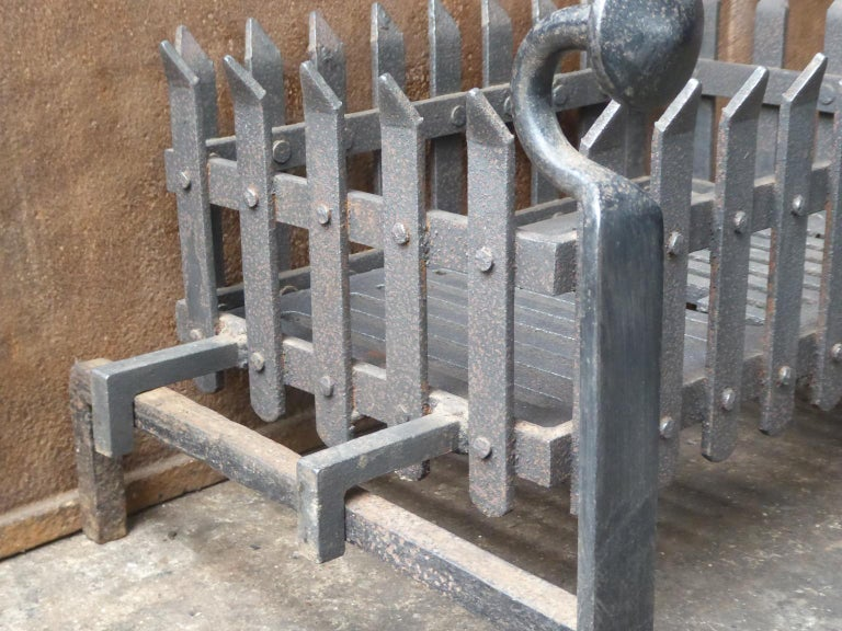 Wrought Iron English Victorian Style Fireplace Grate, Fire Grate For Sale