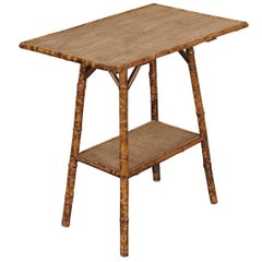 English Victorian Tiger Bamboo Side Table