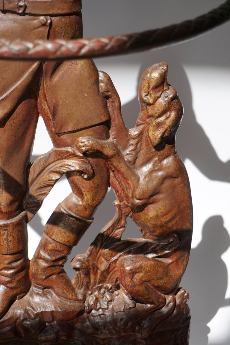 19th Century  English Victorian Umbrella Stand Representing  a Hunter with his Dog For Sale