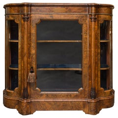 English Victorian Walnut and Inlaid Display Cabinet