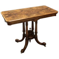 English Victorian Walnut Freestanding Occasional Side Table