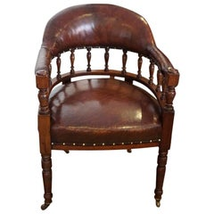 English Victorian walnut leather lawyers desk chair Circa 1885