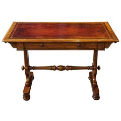 English Victorian Walnut Library Writing Table, circa 1870