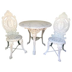 English Victorian White Cast Iron Table with Chairs and Marble Top