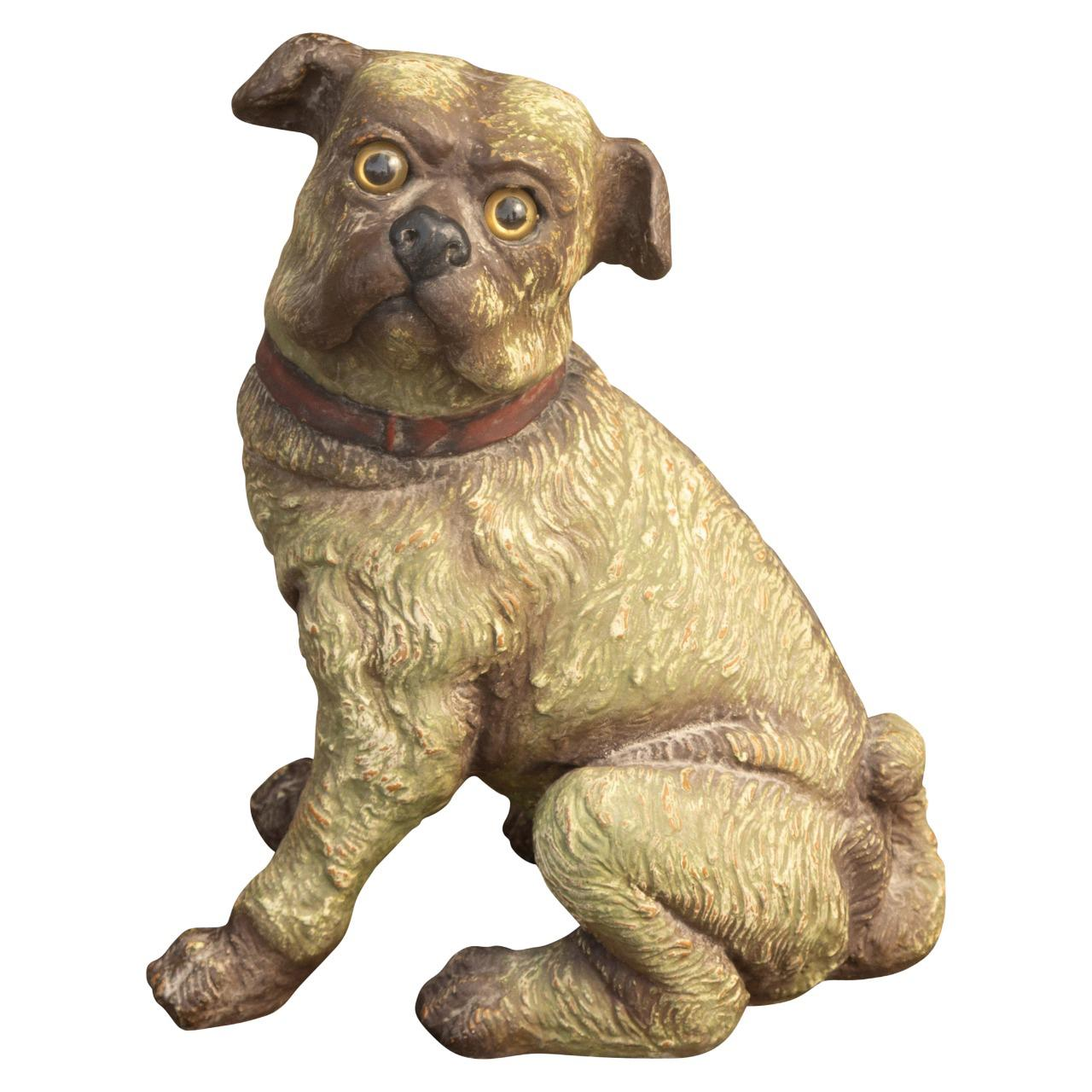 English Vintage Composition Sitting Dog Sculpture with Glass Eyes and Red Collar