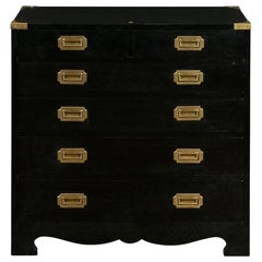 English Vintage Ebonized Campaign Style Chest with Brass Hardware, circa 1970