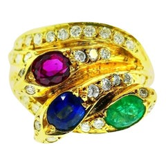 English Vintage Yellow Gold Diamond Ruby Emerald Sapphire Snake Ring