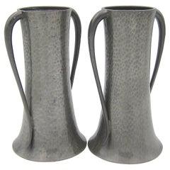 English Walker & Co Art Nouveau Vase Pair in Hand Beaten Pewter