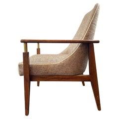 English Walnut and Brass Armchair
