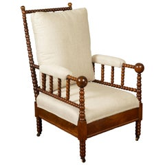 English Walnut Bobbin Armchair with New Upholstery and Casters, circa 1920