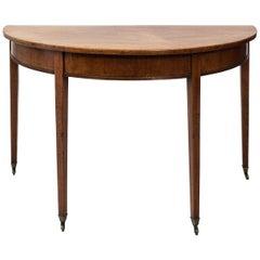 English Walnut Demilune Table