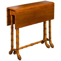 English Walnut Drop-Leaf Table with Faux-Bamboo Base, circa 1900