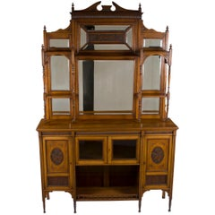 English Walnut Edwardian Large Chiffonier Buffet Server
