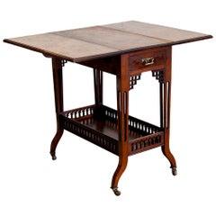 English Walnut Fretwork Gallery Drop Leaf Table