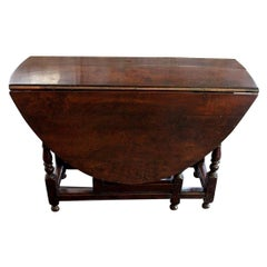 English Walnut Gate Leg Table, circa 1685