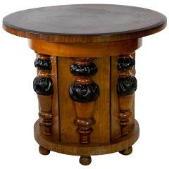 English Walnut Pedestal Center Table