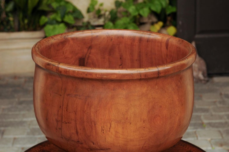 An English walnut treenware bowl from the late 19th century, resting on a turned pedestal. Born in England during the later years of the 19th century, this charming treenware piece features a circular bowl with protruding lip and circular foot,