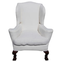 English Walnut Upholstered Wingback Chair with Shell Knee and Spanish Feet