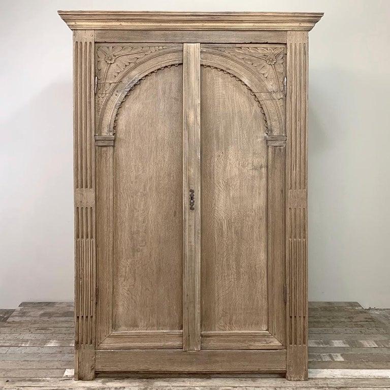 Hand-Crafted English Wardrobe, 19th Century Stripped Oak