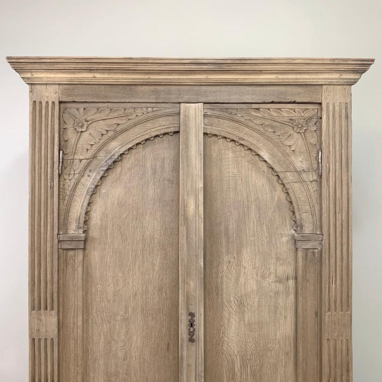 English Wardrobe, 19th Century Stripped Oak 1