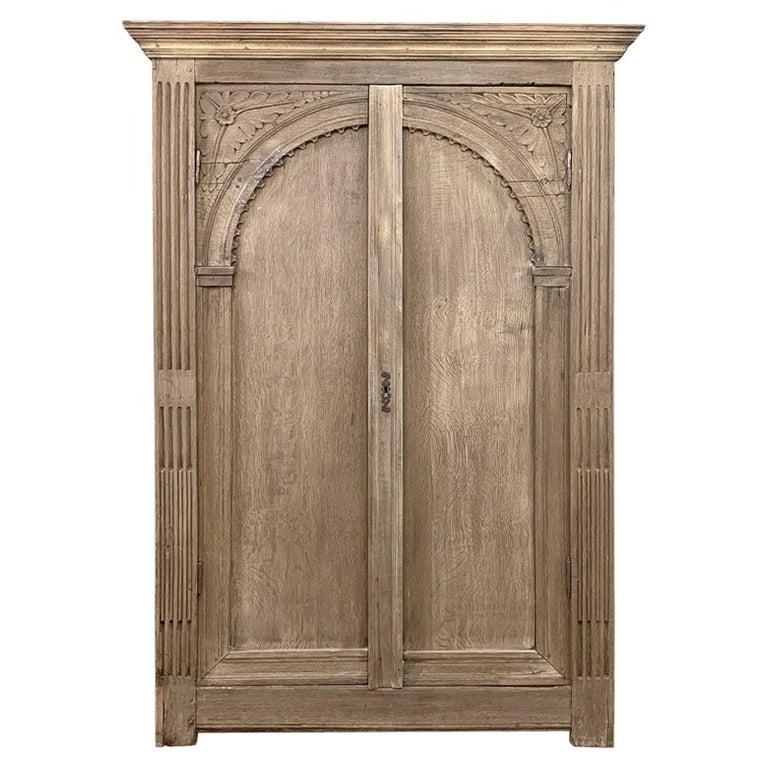 English Wardrobe, 19th Century Stripped Oak