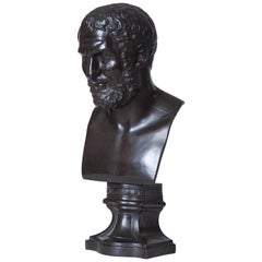 English, Wedgwood, Black Basalt Bust of Zeno on Plinth