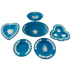 English Wedgwood Blue Jasperware Decorative Small Plates, Set of 6