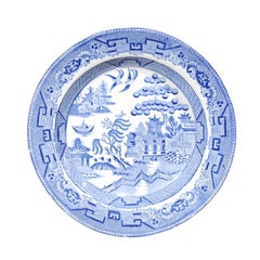 English Wedgwood & Co 19th Century Blue and White Stoneware Willow Pattern Plate