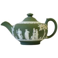 English Wedgwood Jasperware Matte Green and White Stoneware Tea or Coffee Pot