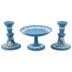 English Wedgwood Jasperware Pair of Candleholders and Decorative Plate