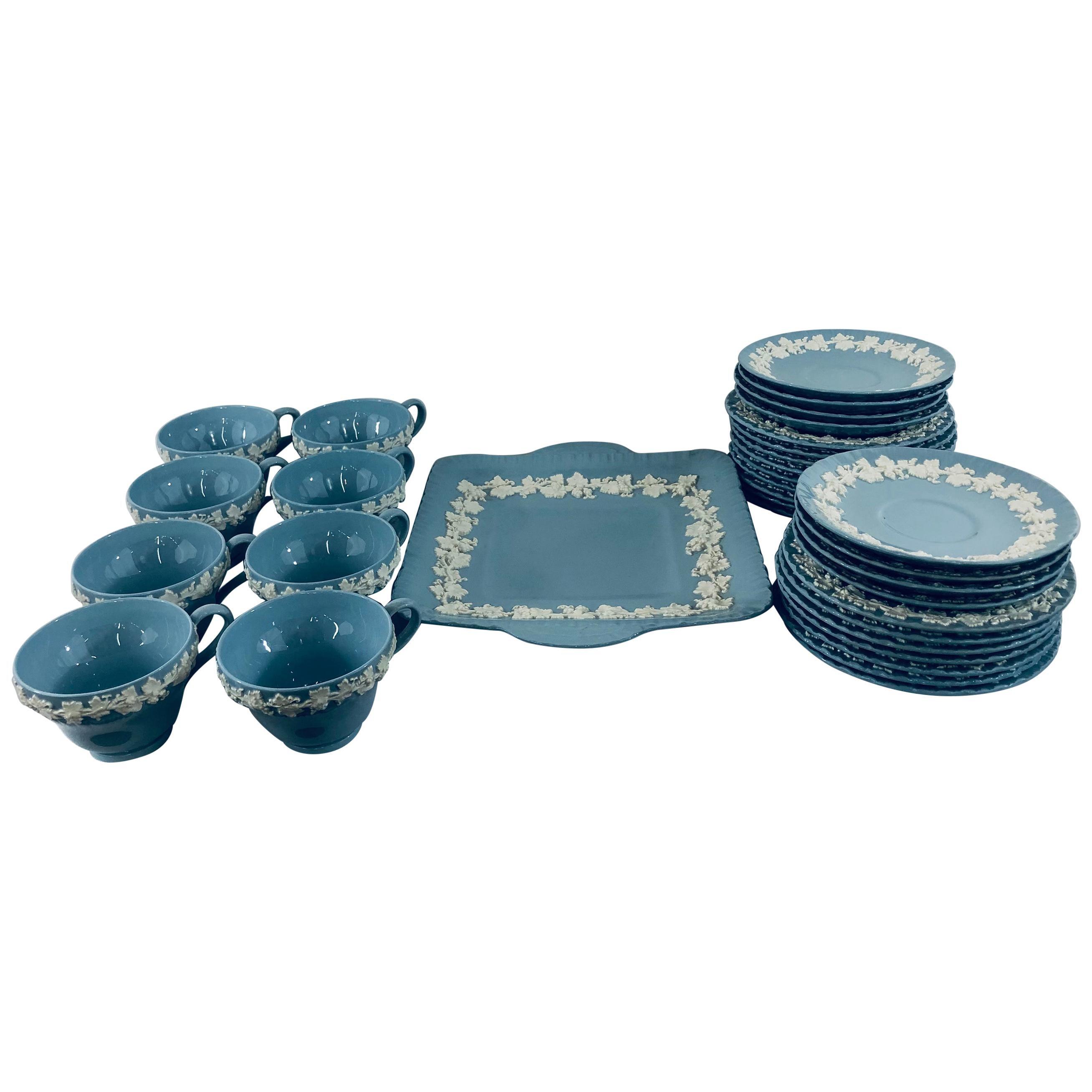 English Wedgwood Jasperware Servingware, Set of 33 Pieces