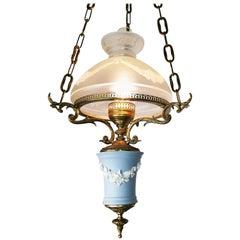 English Wedgwood Porcelain Chandelier Gilt Bronze Victorian Library Hanging Lamp