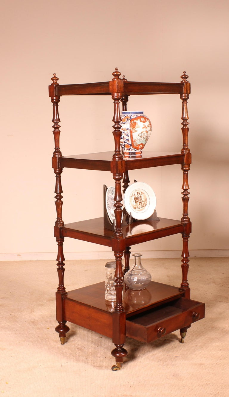 Victorian English Whatnot 19th Century in Mahogany For Sale