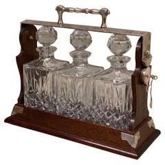English Whiskey Tantalus, Silver Plated, Mahogany, 3 Crystal Decanters 1960